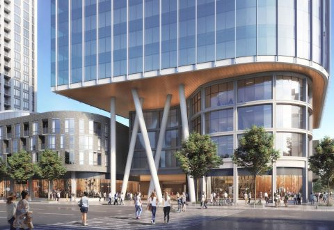 Rendering of office tower at 3300 Highway 7