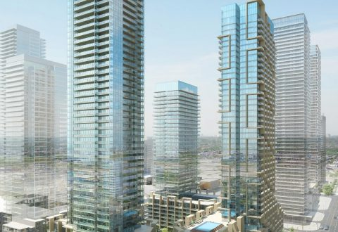 Rendering of TC4, TC5, purpose-built rental, and park, image courtesy of CentreCourt