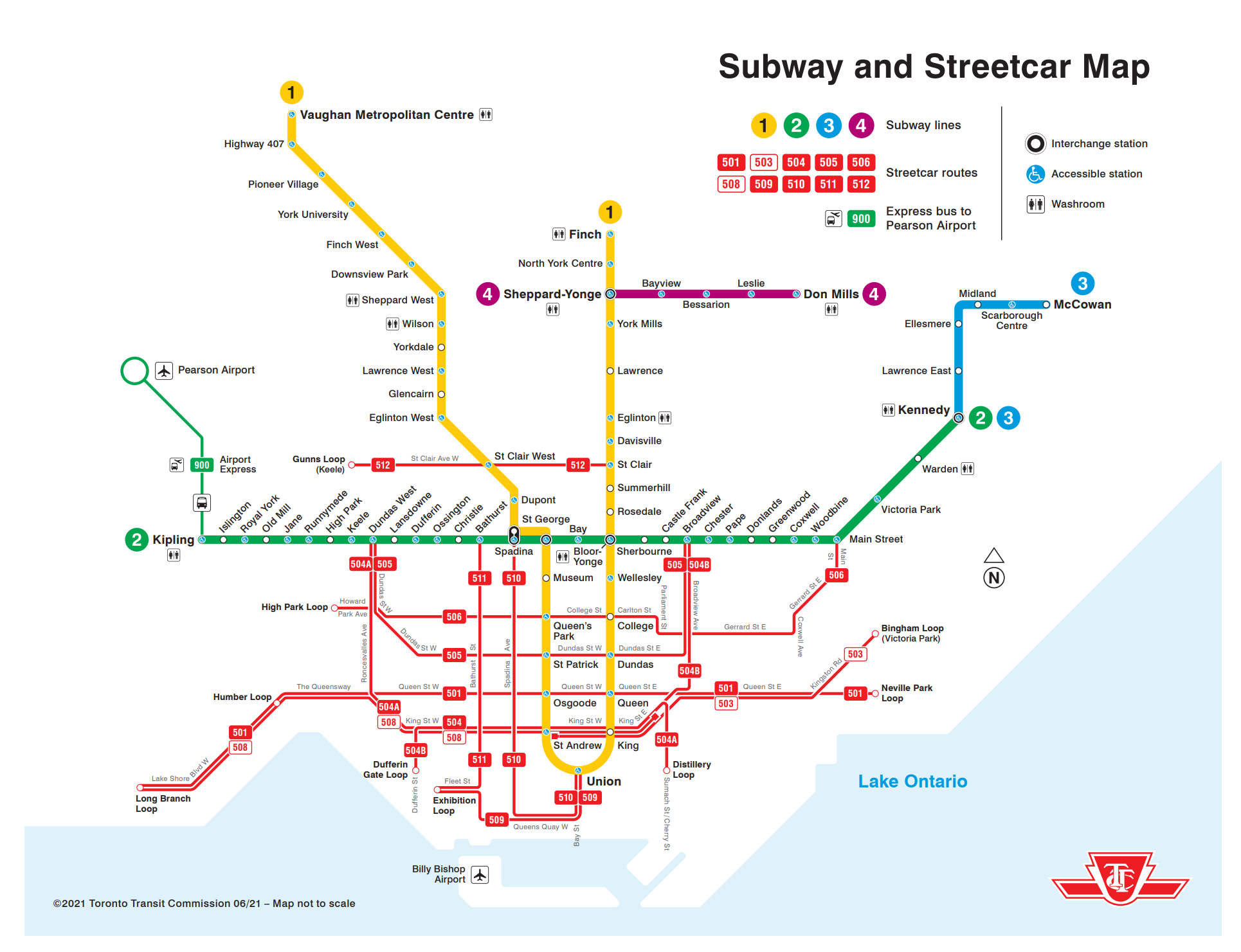 map of the TTC subway and streetcar map